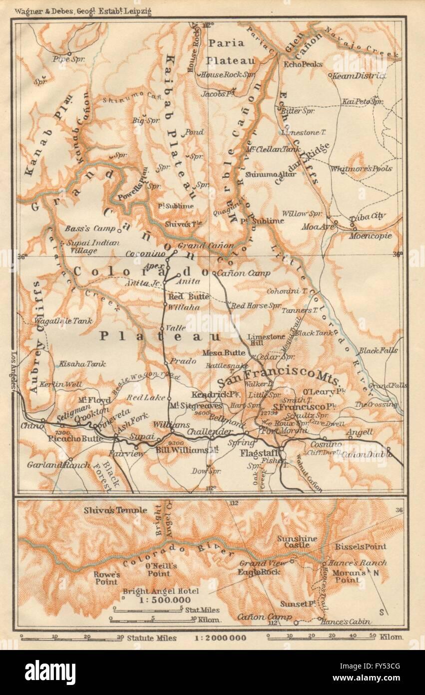 Map Of Colorado River In Arizona.The Grand Canyon Of The Colorado River Arizona 1904 Antique Map