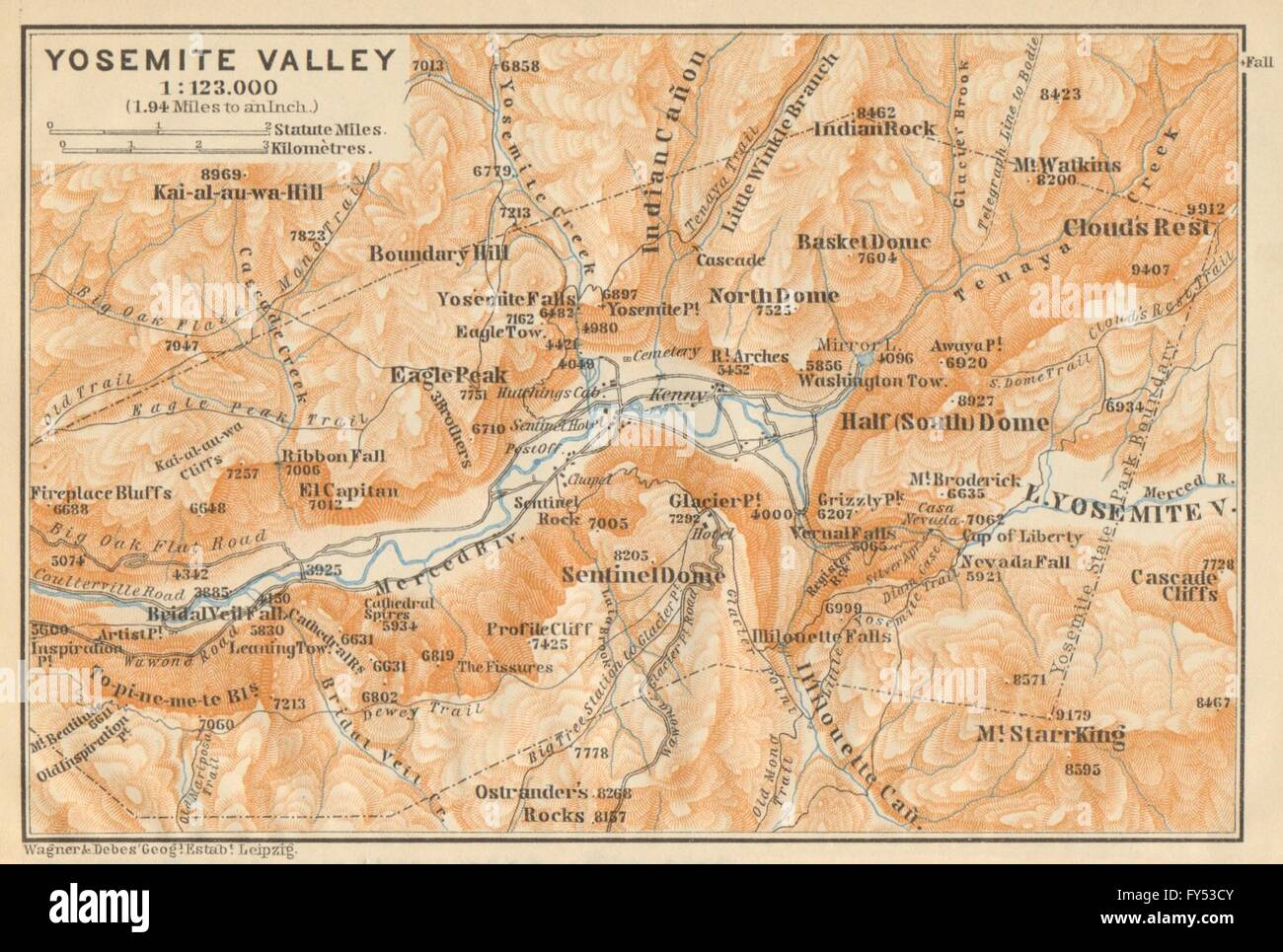 Yosemite Valley California Topo Map Baedeker 1904 Stock Photo