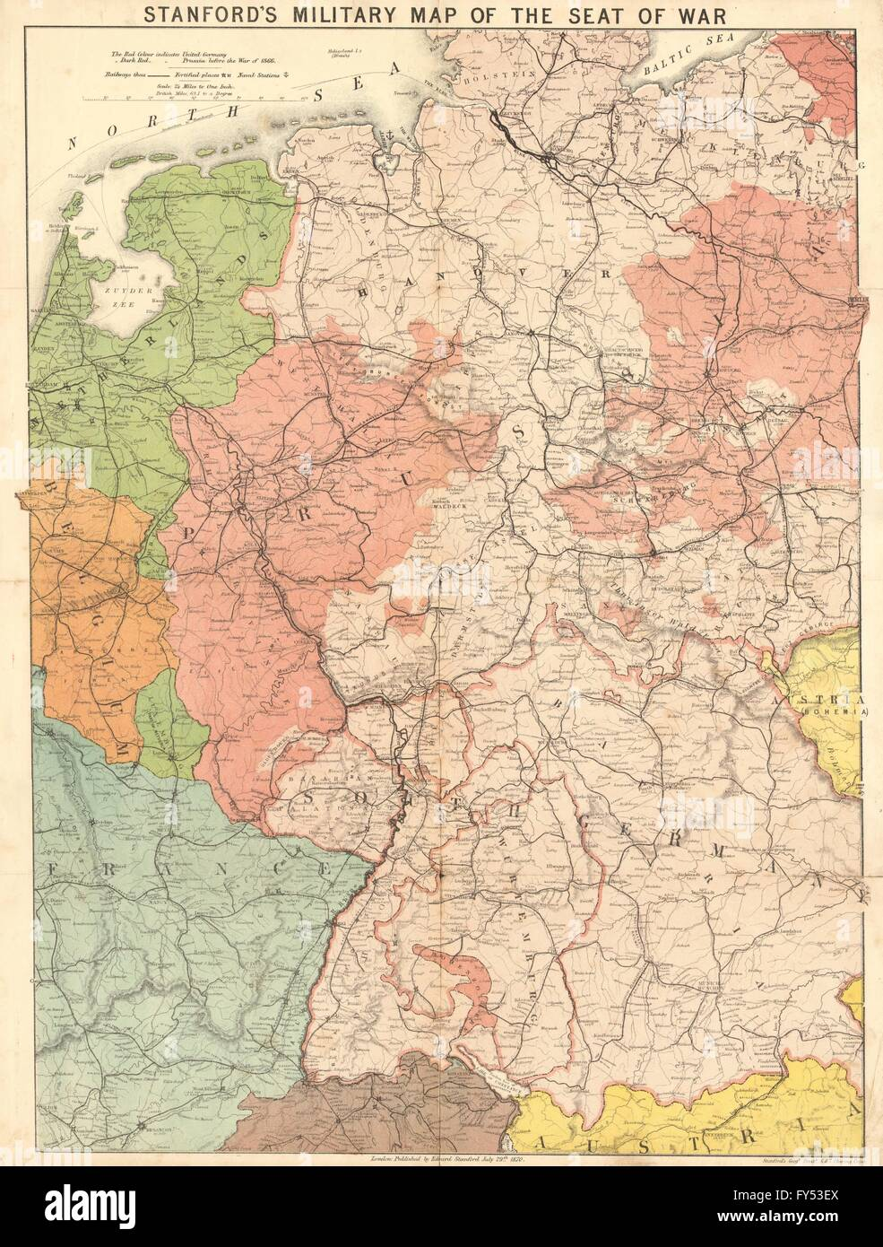 Map Of Germany 1870.Stanford S Military Map Of The Seat Of War Franco Prussian War