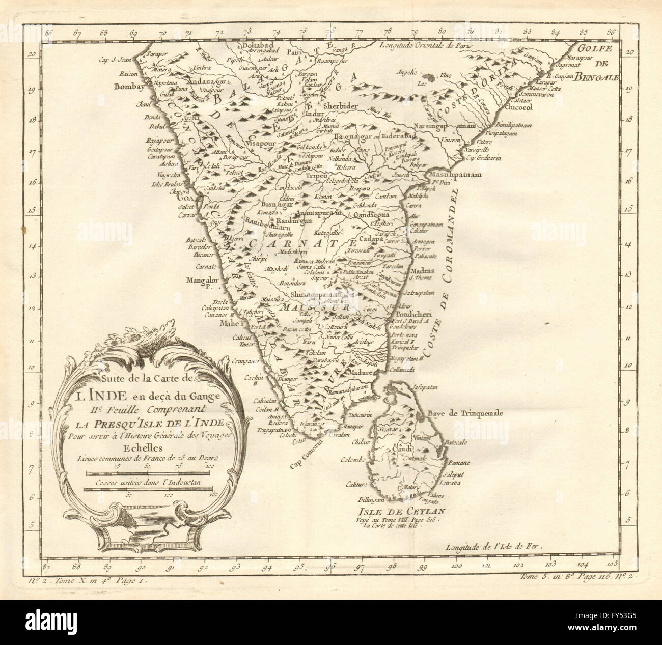 Carte De Linde Avec Le Gange.Suite De L Inde En Deca Du Gange South India Sri Lanka Ceylon Stock