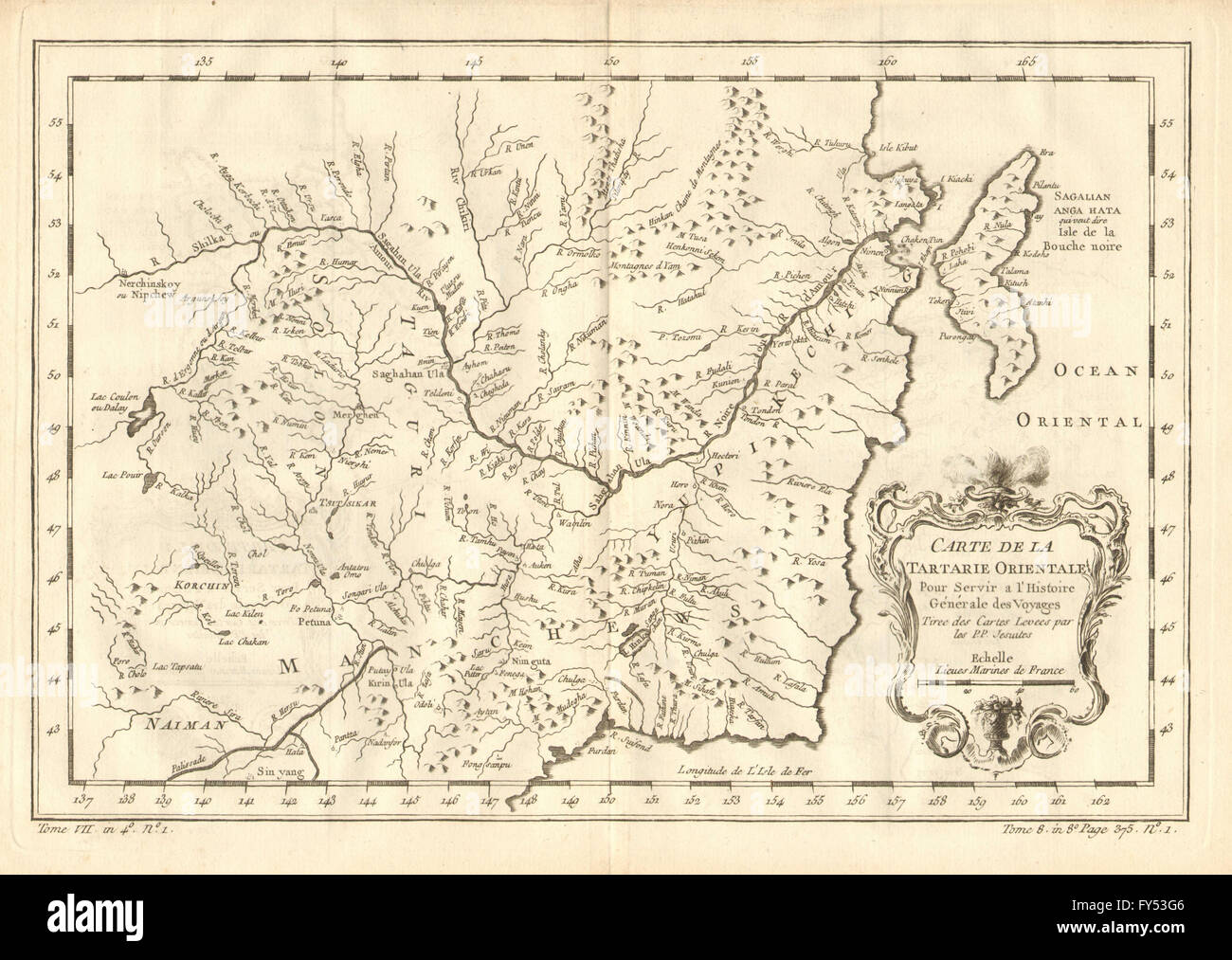 River Map Of China.Tartarie Orientale Eastern Tartary Amur River Russia China Stock
