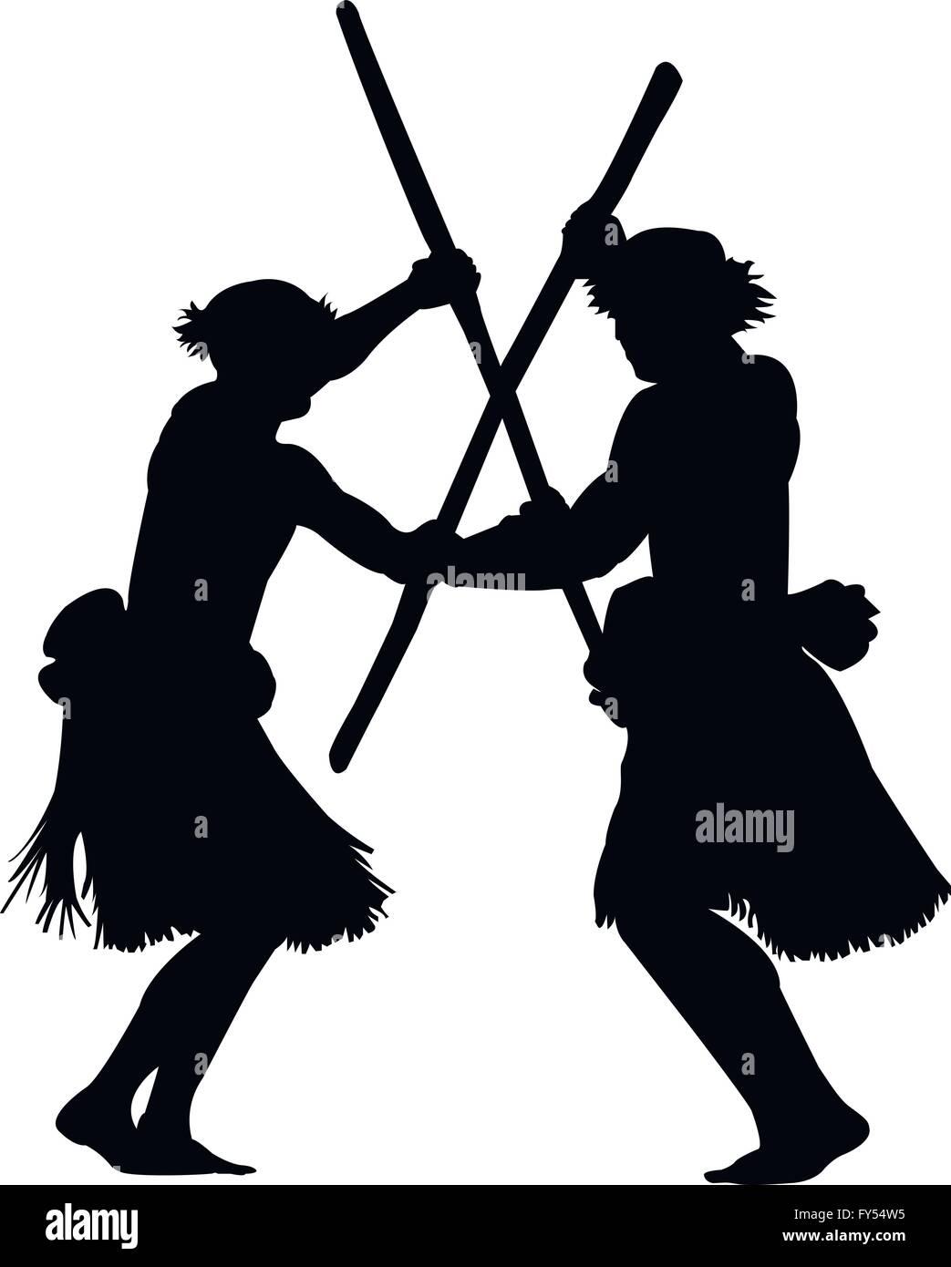Polynesian warrior dance - Stock Vector