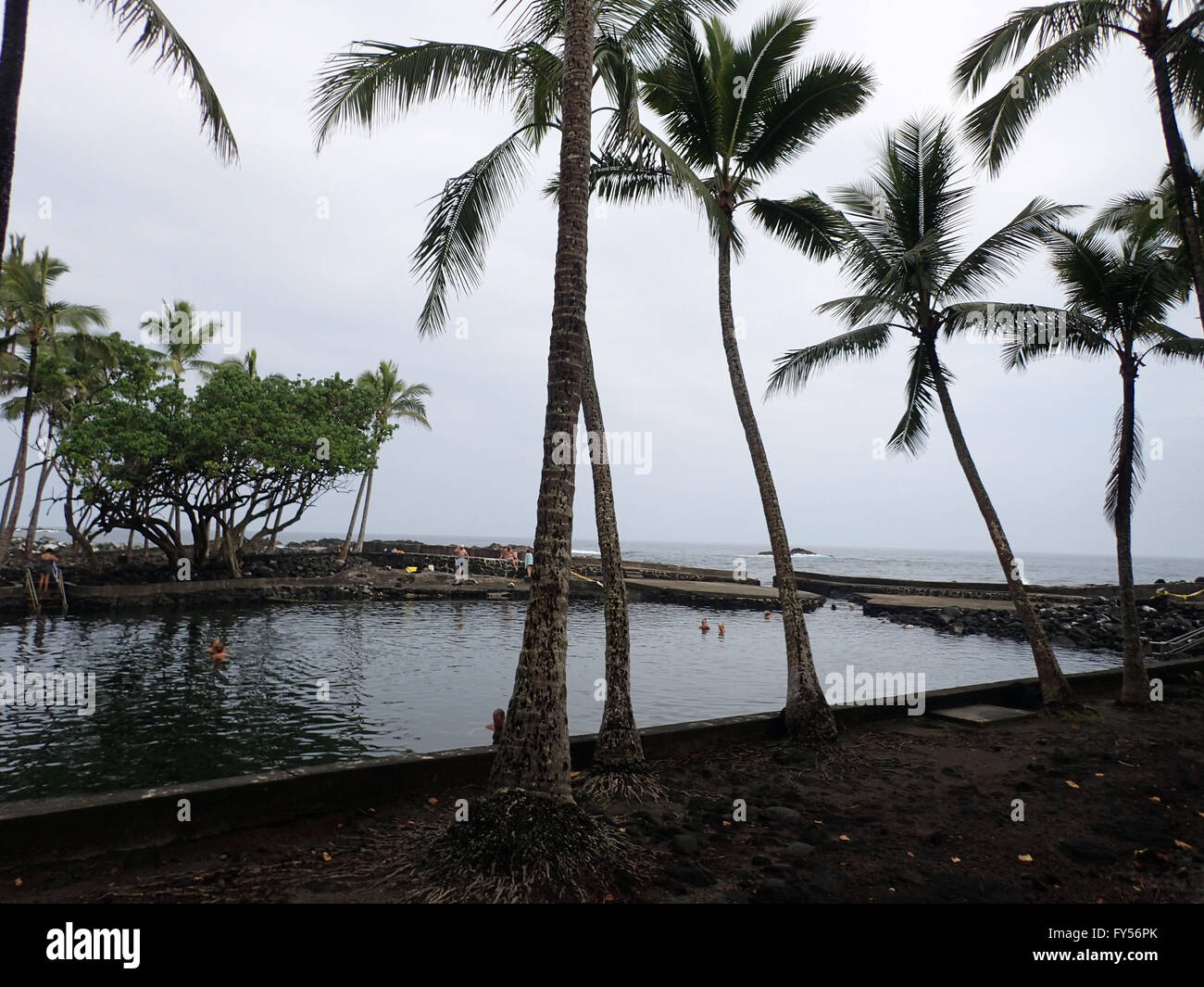 People use Ahalanui spring fed pool, This spring fed pool is part natural and part man-made. It is also volcanically - Stock Image