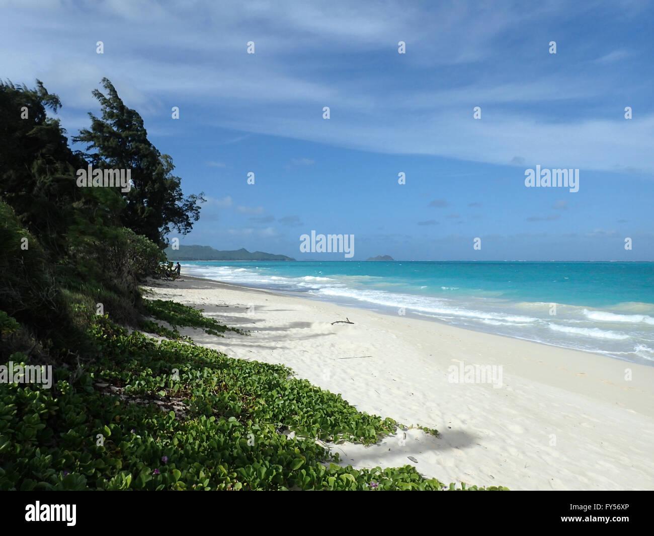 Gentle wave lap on white sand Waimanalo Beach looking towards Mokulua islands on a nice day Oahu, Hawaii. - Stock Image