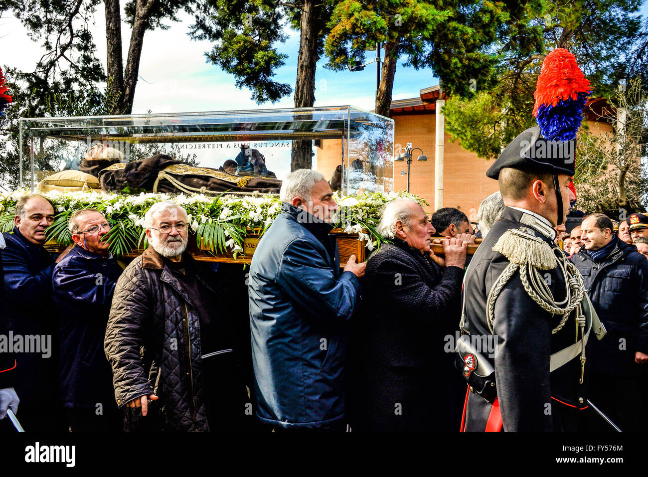 Italy Campania - San Pio embraces its Terra - San Pio in Piana Romana in the chapel of the elm where he received - Stock Image