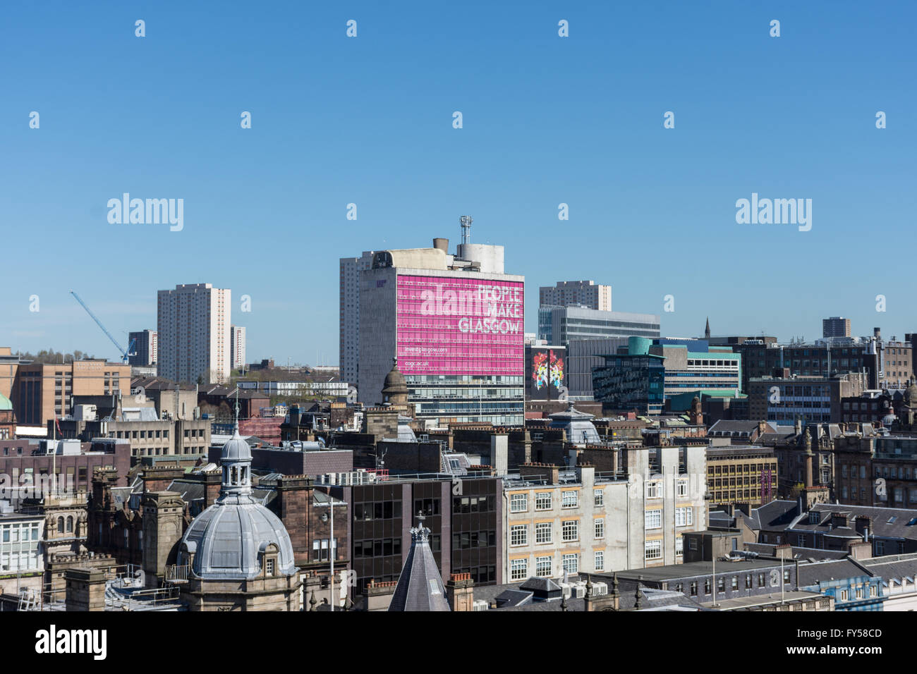 A skyline View of Glasgow City Centre Taken From The Lighthouse on Mitchell Lane - Stock Image