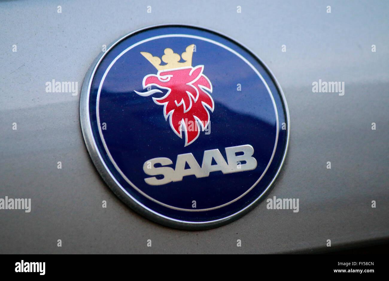 Markennamen: 'Saab', Berlin. - Stock Image
