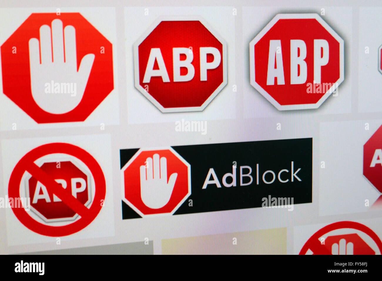 das Logo der Marke 'ABP Adblock', Berlin. - Stock Image