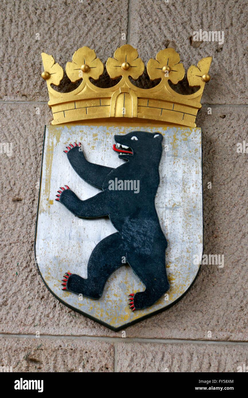 Berliner Wappen mit Baer, Berlin. - Stock Image
