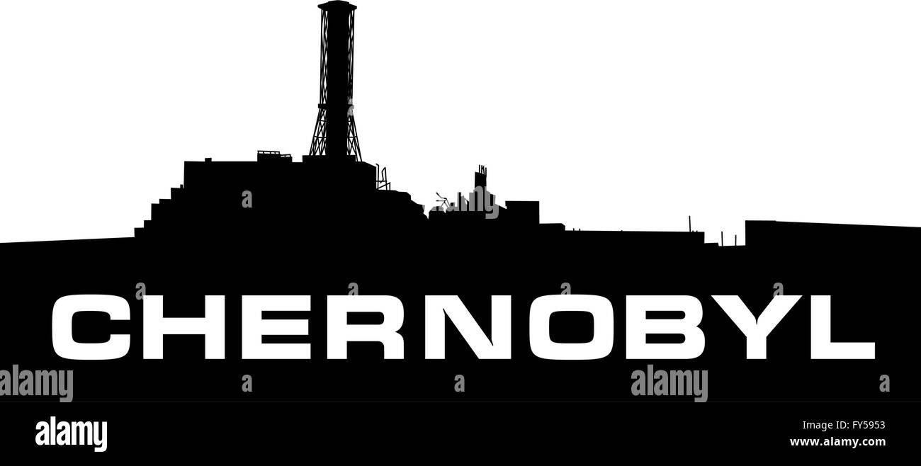 Chernobyl power plant silhouette. - Stock Image