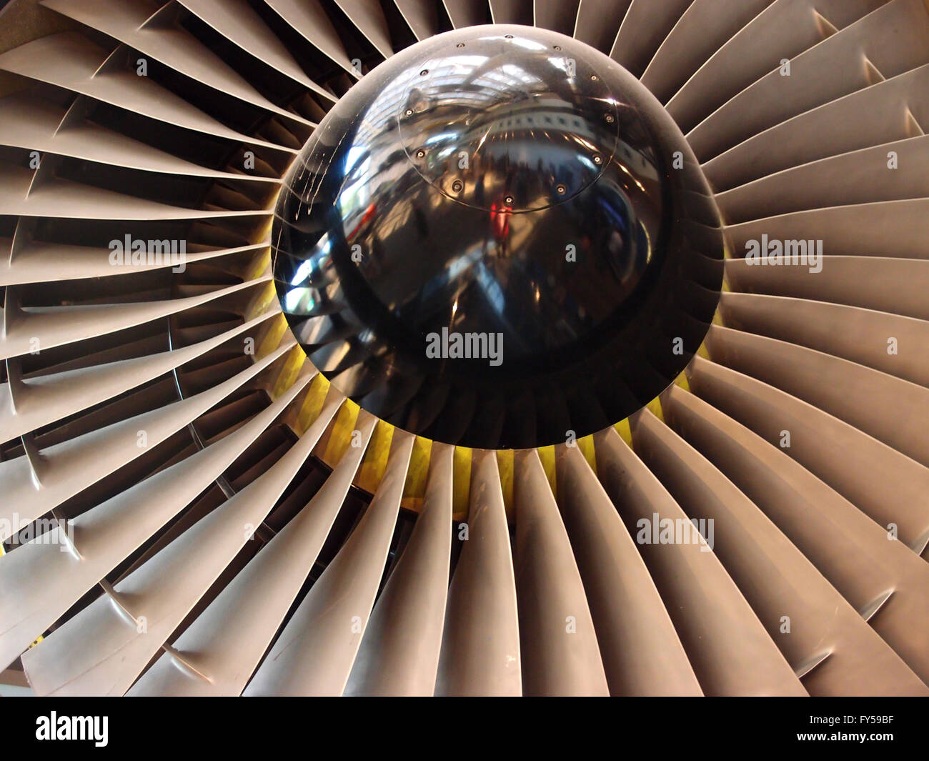 The turbine and blades of a jet engine. - Stock Image