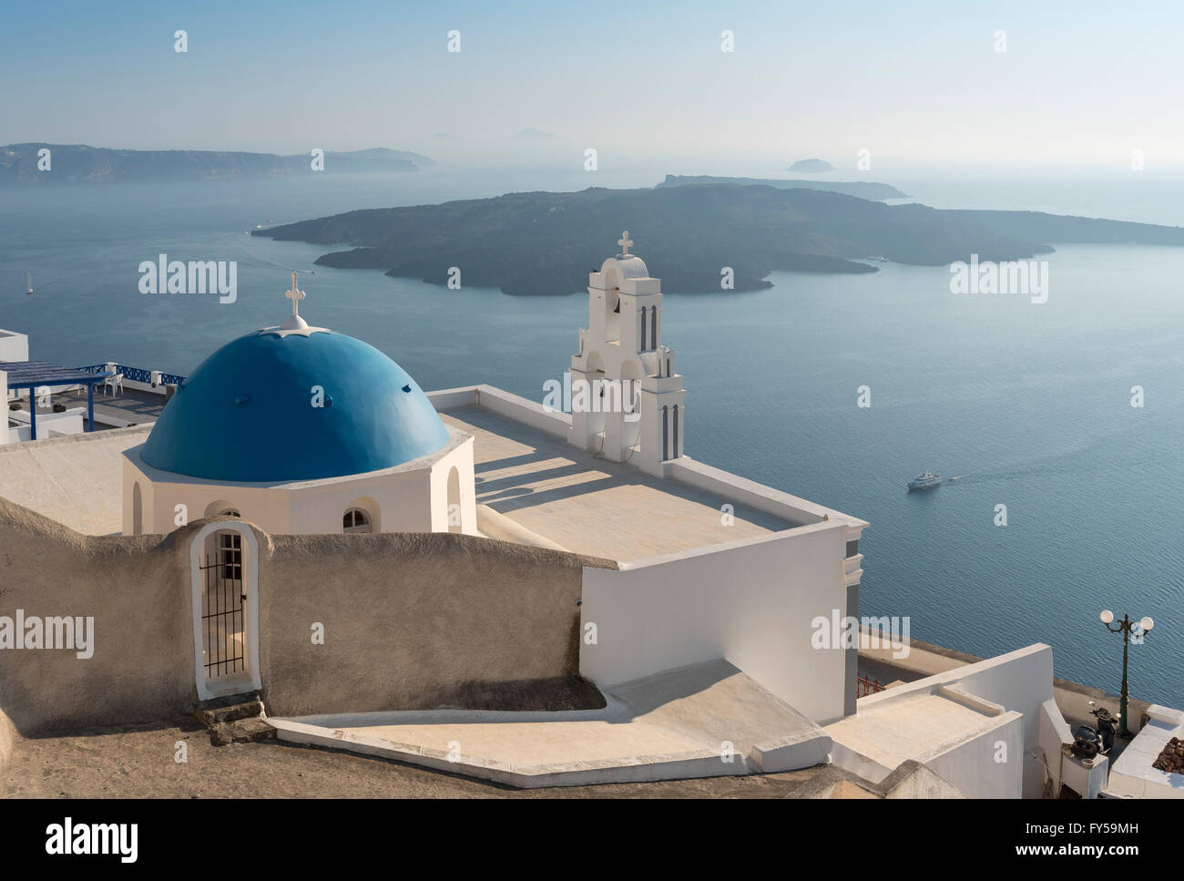 Blue dome and bell-tower of Firostefani Church, Santorini, Greece - Stock Image