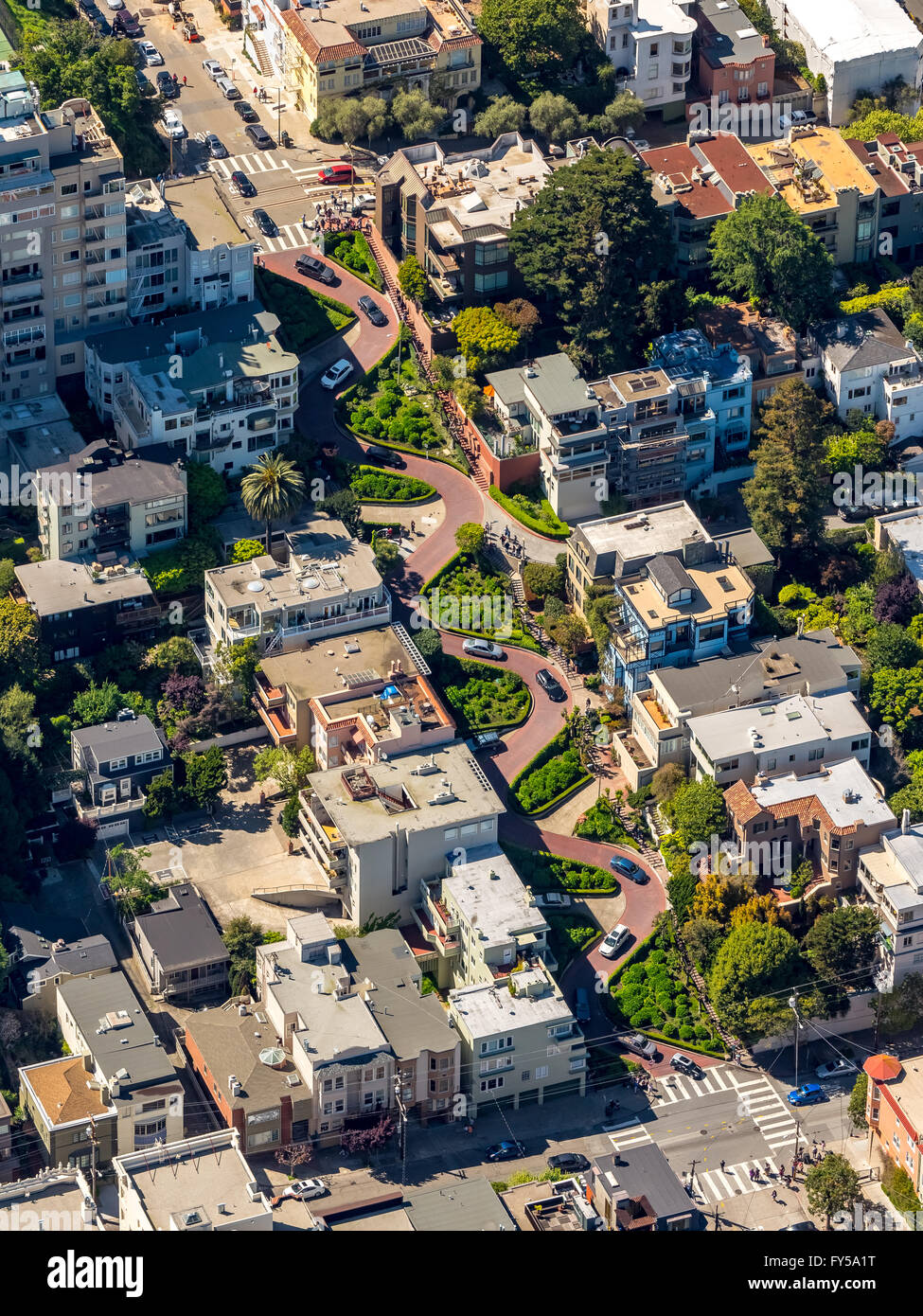 Aerial view, Lombard Street with hairpin turns, winding road, the streets of San Francisco, San Francisco - Stock Image