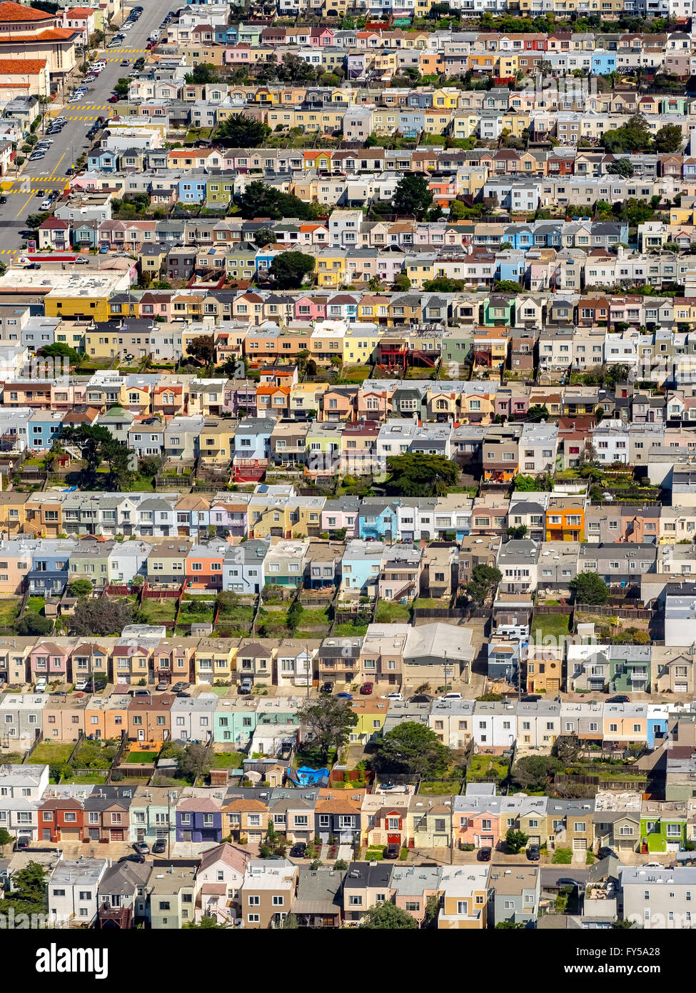 Aerial view, small detached, single-family houses at Doelger City, Outer Sunset, suburban district in the west of Stock Photo