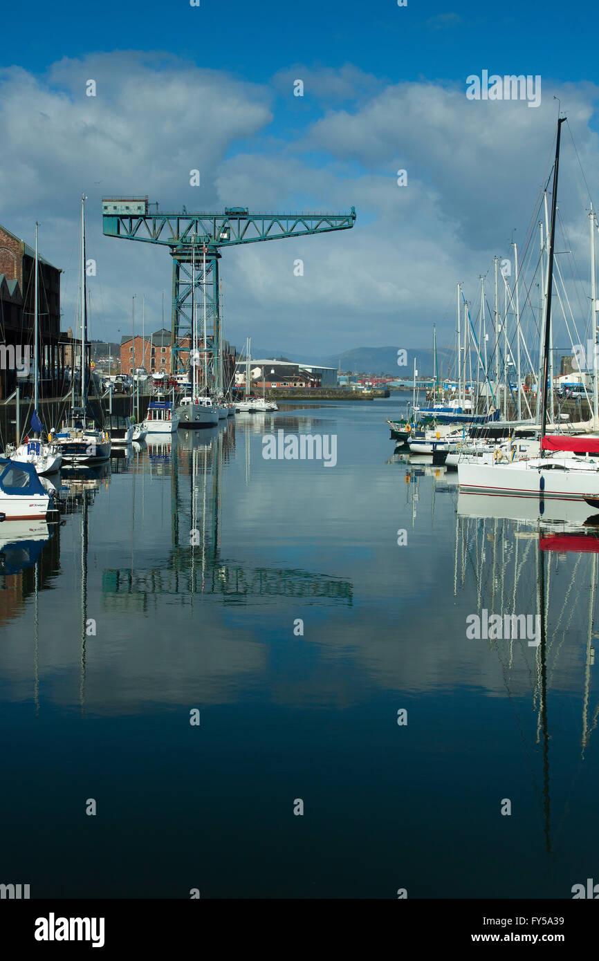 The Titan Crane and the James Watt Dock, Greenock, Inverclyde - Stock Image