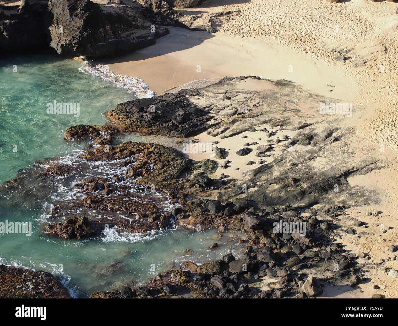Secret Beach - Oahu, Hawaii viewed from above. Stock Photo