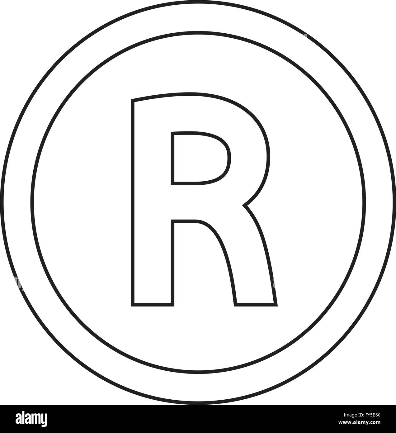 Basic Font Letter R Icon Illustration Design Stock Vector Art