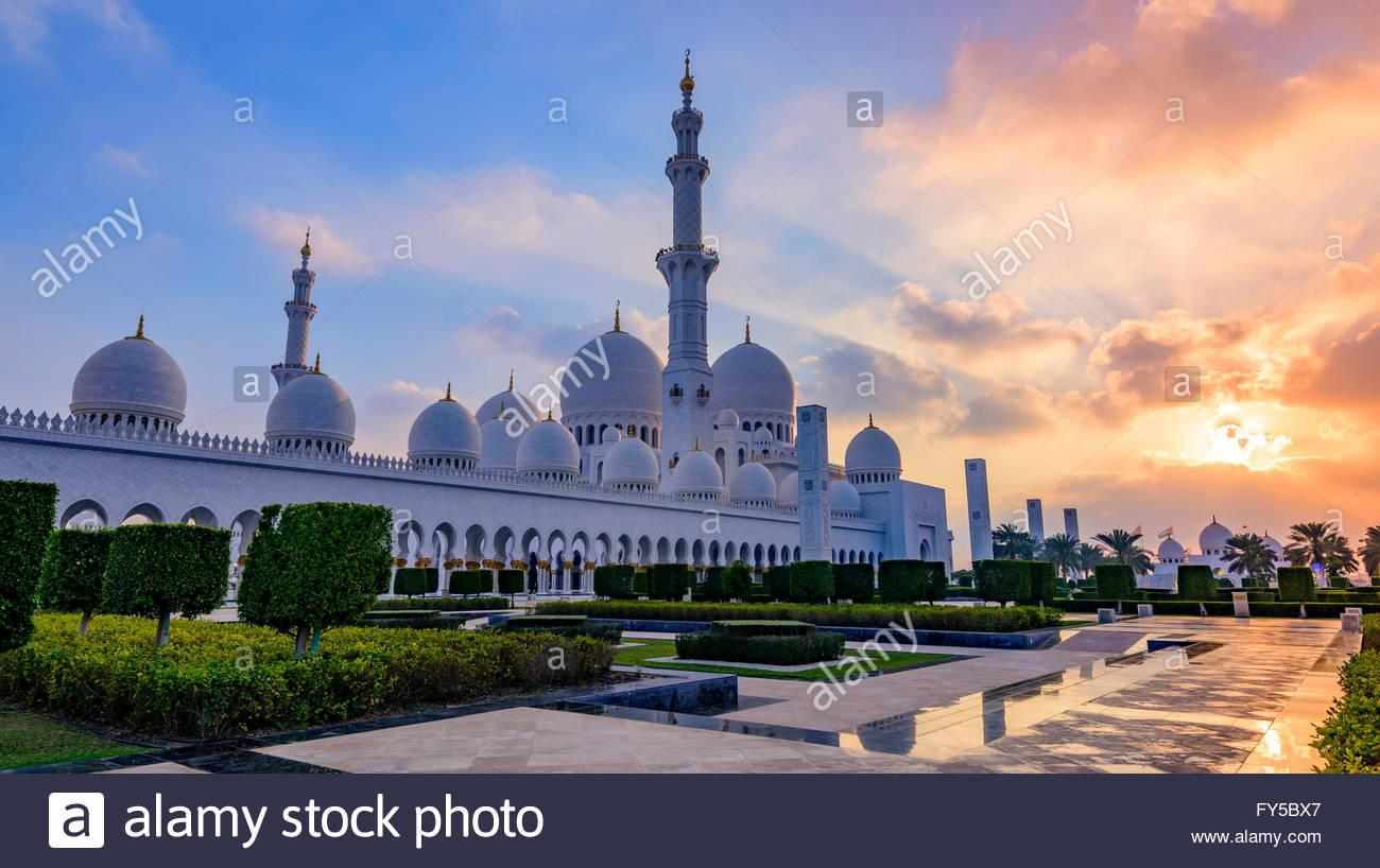 An Abu Dhabi landmark, the Sheikh Zayed Mosque was the vision of Sheikh Zayed bin Sultan al Nahyan, - Stock Image