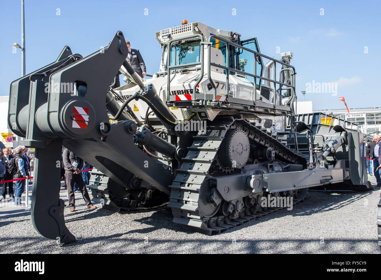 bauma 2016 exhibition: Liebherr's largest dozer, the PR 776 with Delta  tracks, Munich, Apr. 11, 2016.