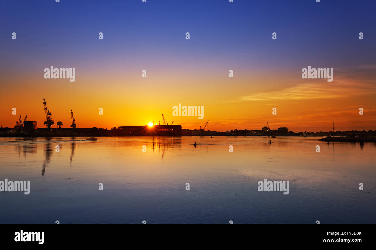 Portsmouth Navy Yard sunrise Stock Photo