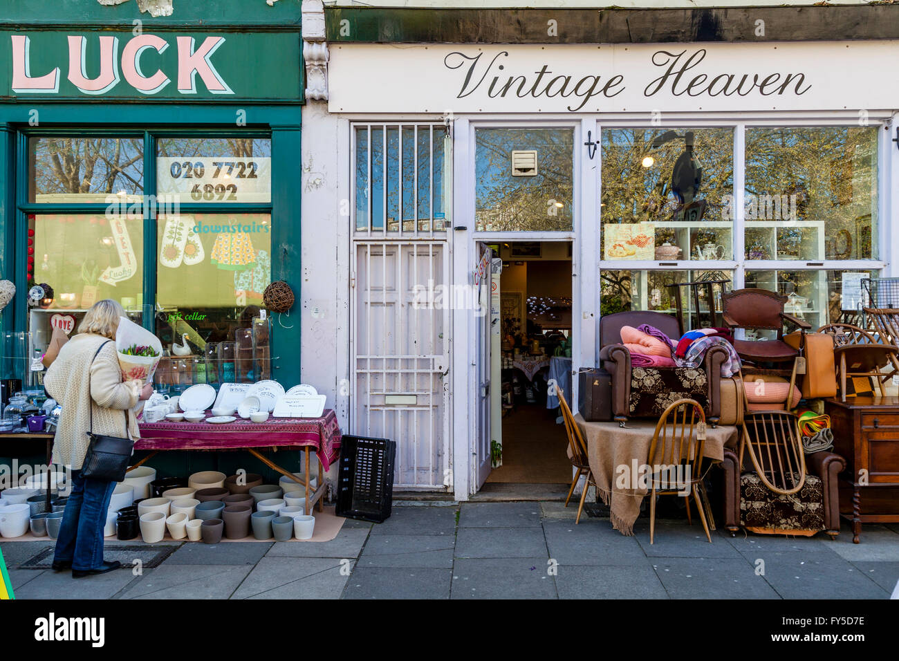Shops In Columbia Road, Tower Hamlets, London, England - Stock Image