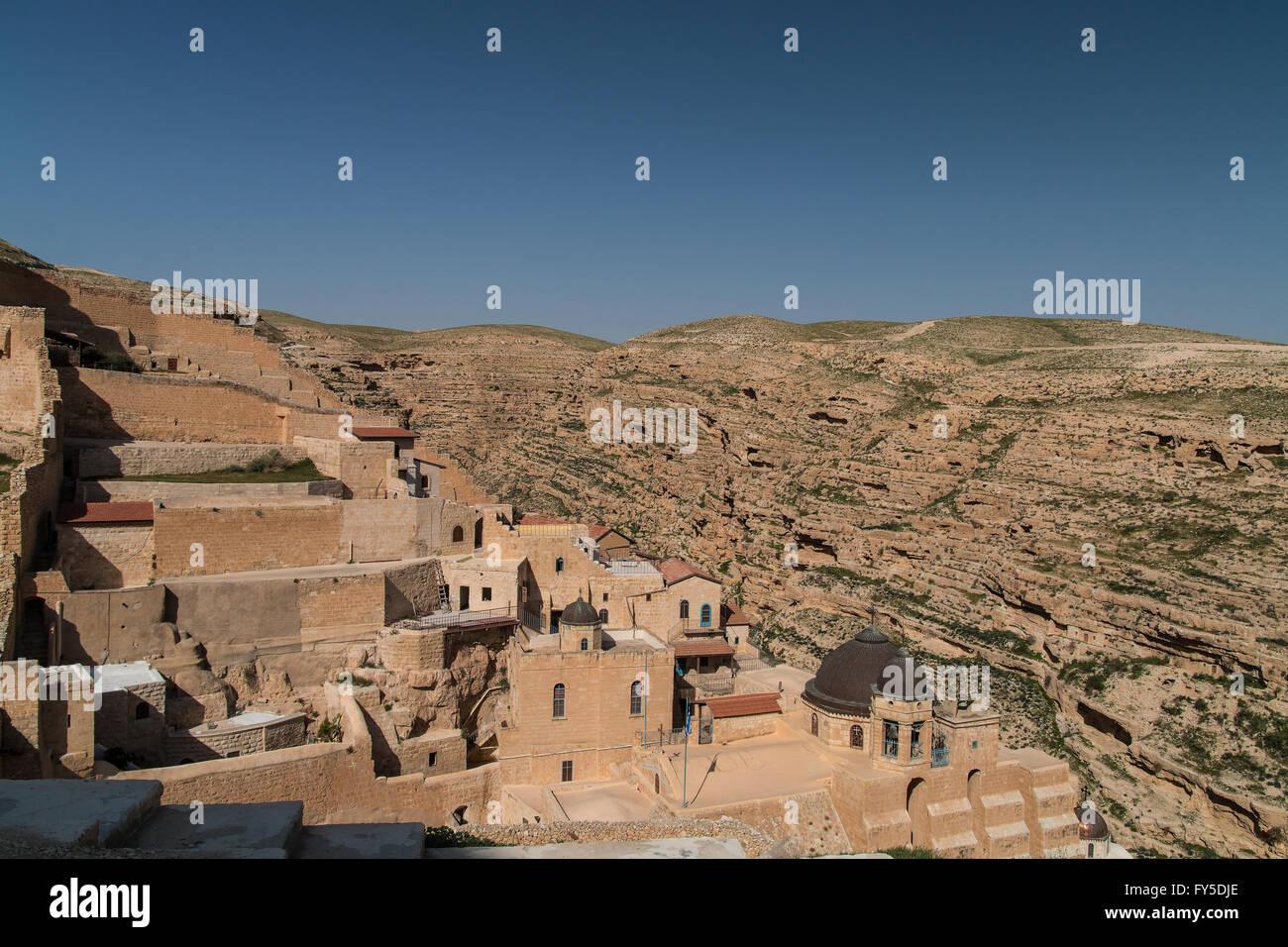 Mar Saba Greek Orthodox monastery Kidron Valley Palestine Stock Photo