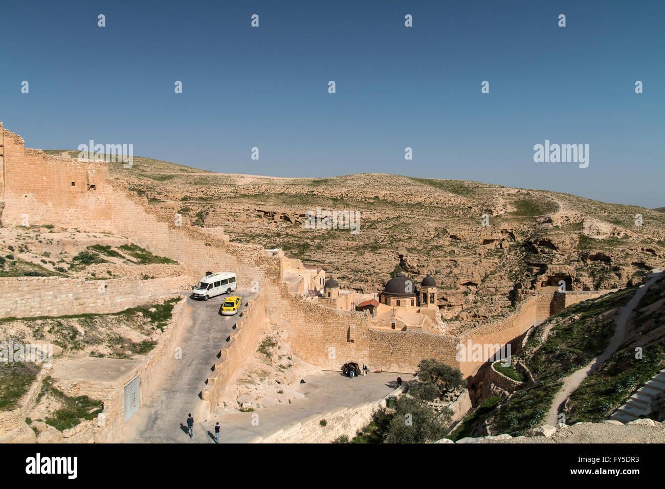 Mar Saba Greek Orthodox monastery Kidron Valley Palestine - Stock Image