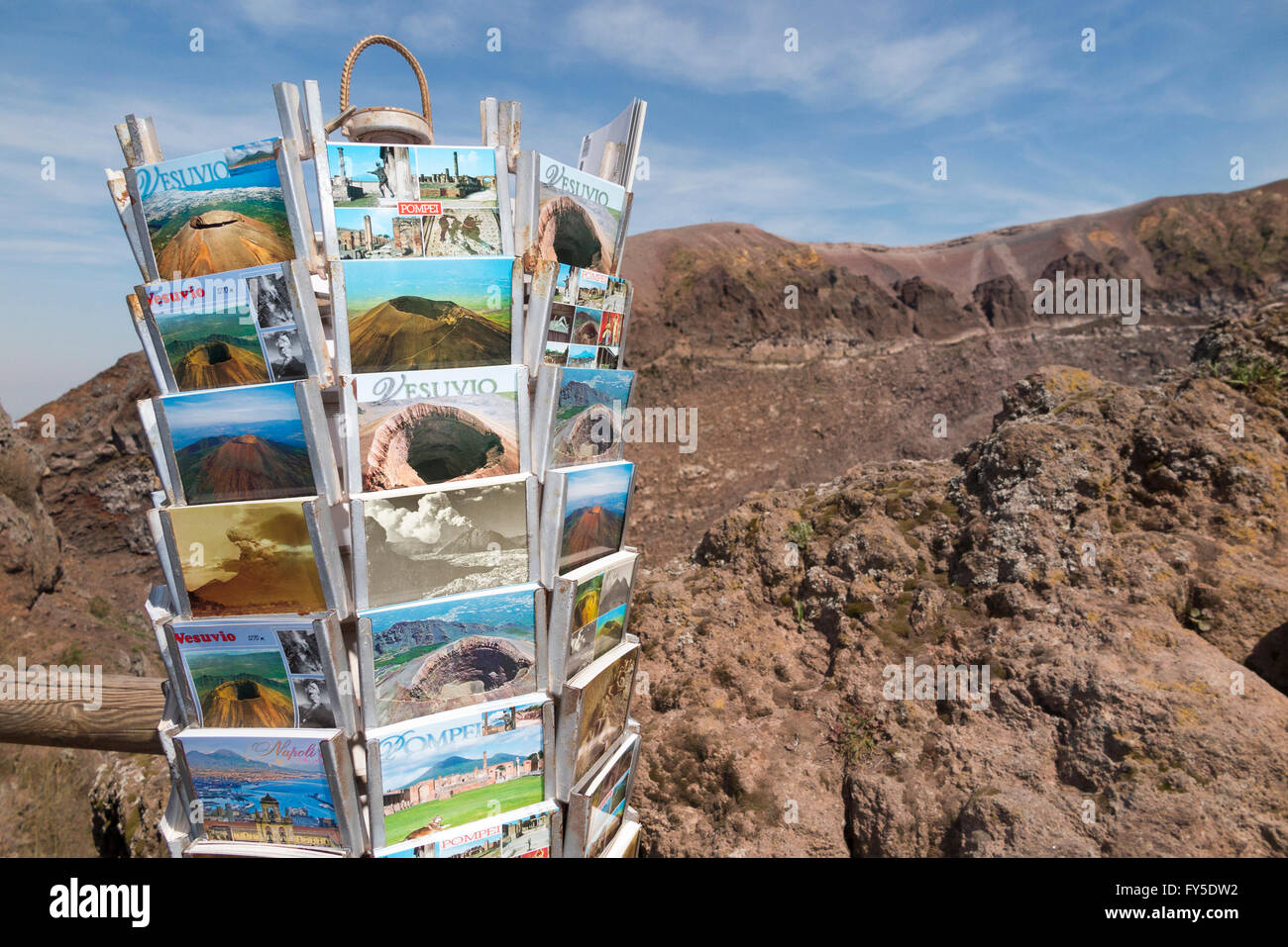 Postcards / post cards for sale at souvenir shop on slopes of / the top summit of Mount Vesuvius near Naples, Italy. - Stock Image