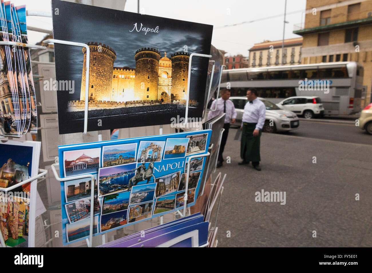 Postcards / post cards for sale outside a souvenir shop in Naples / Napoli , Italy. - Stock Image