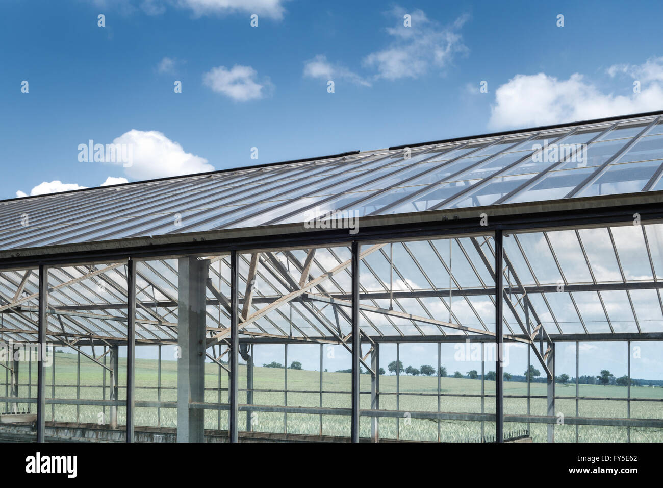 Greenhouse for sewage sludge drying - Stock Image