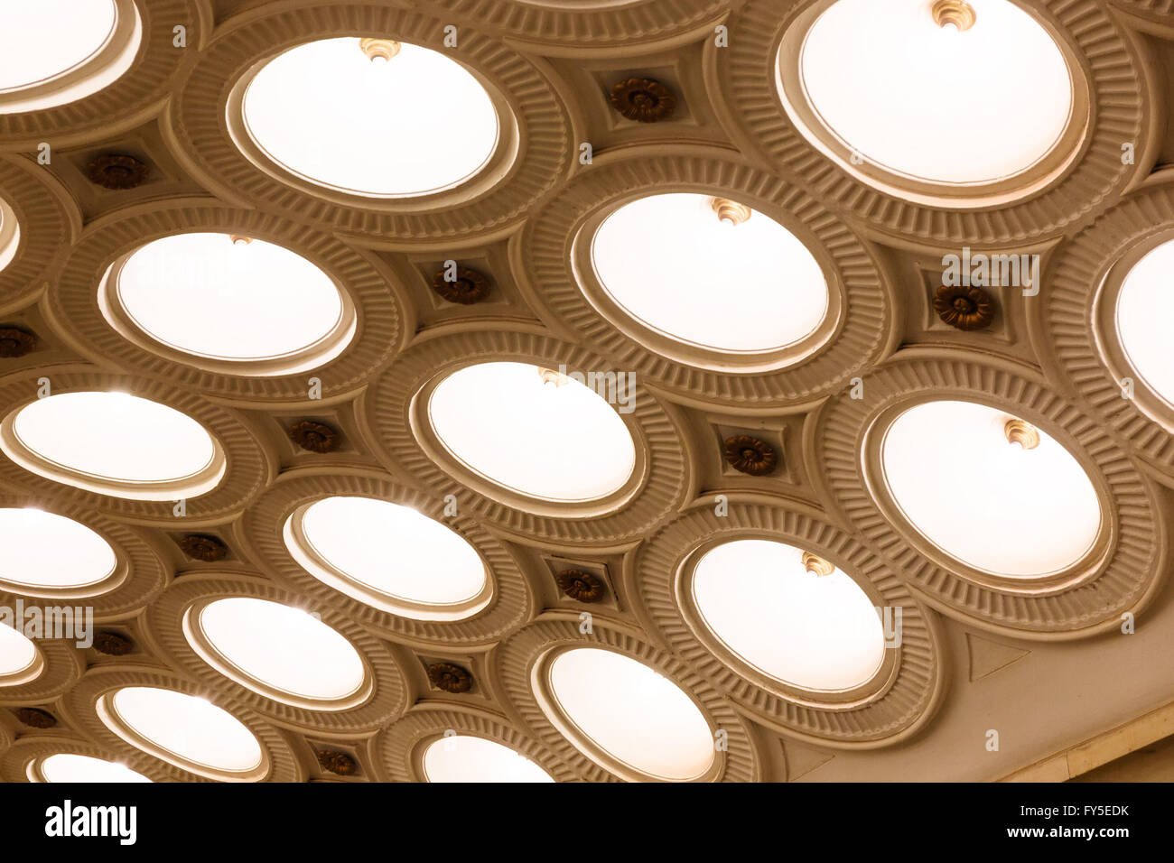 Closeup of the ceiling lighting caissons of the Elektrozavodskaya metro station on  in Moscow. Stock Photo