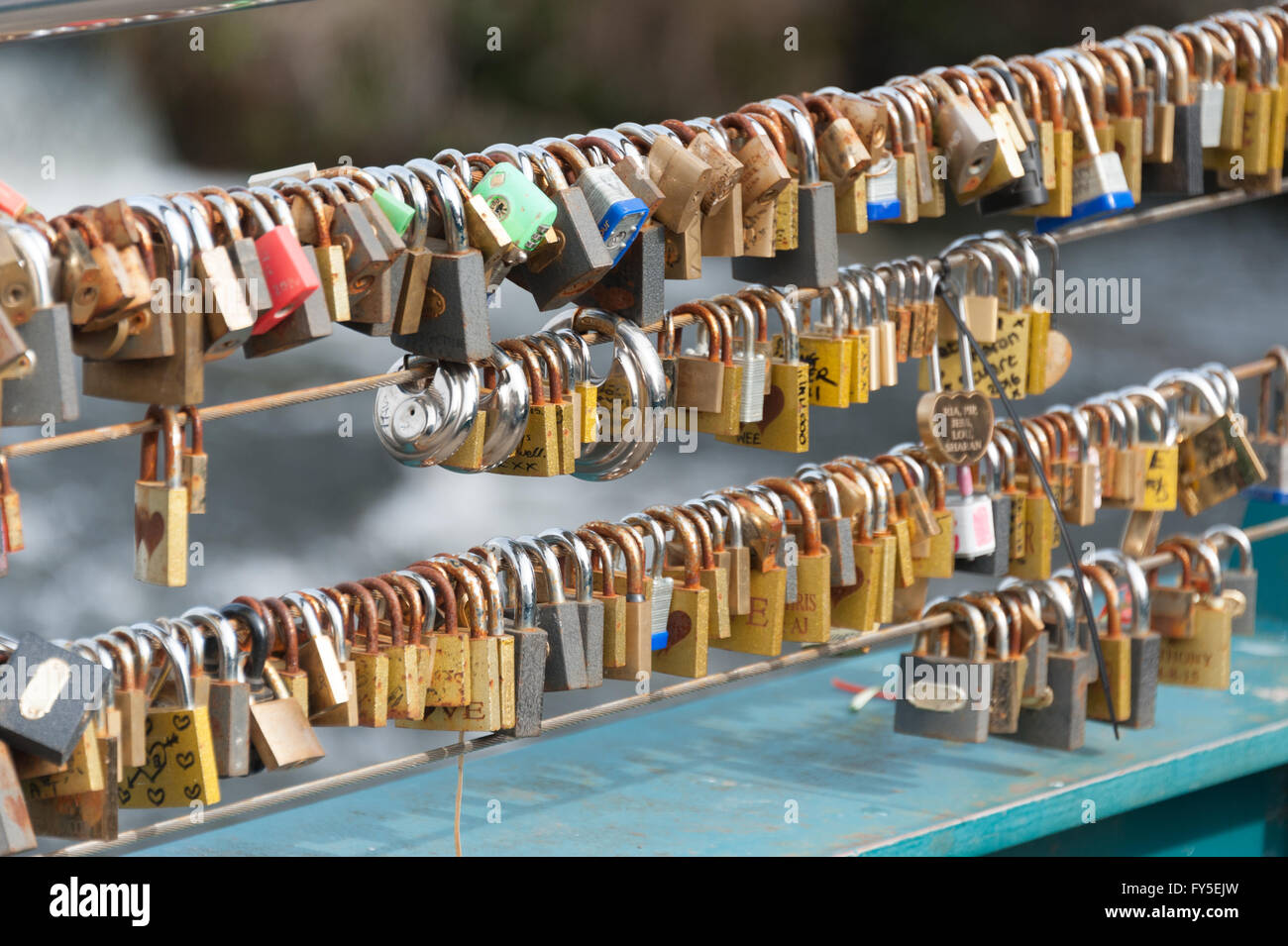 Love Locks on the river Wye bridge in Bakewell, Derbyshire, UK - Stock Image