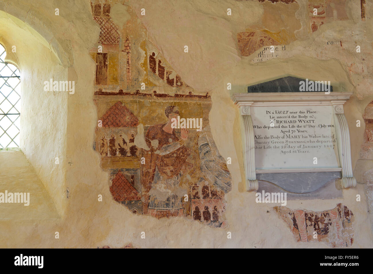 Medieval wall paintings in the parish church in the hamlet of Coombes in the Adur valley north of Shoreham Stock Photo