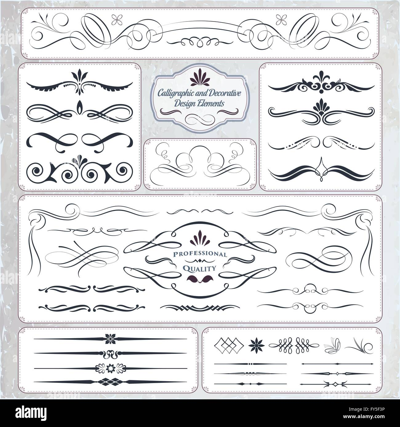 Collection of Calligraphic Decorative Design Elements - Stock Image