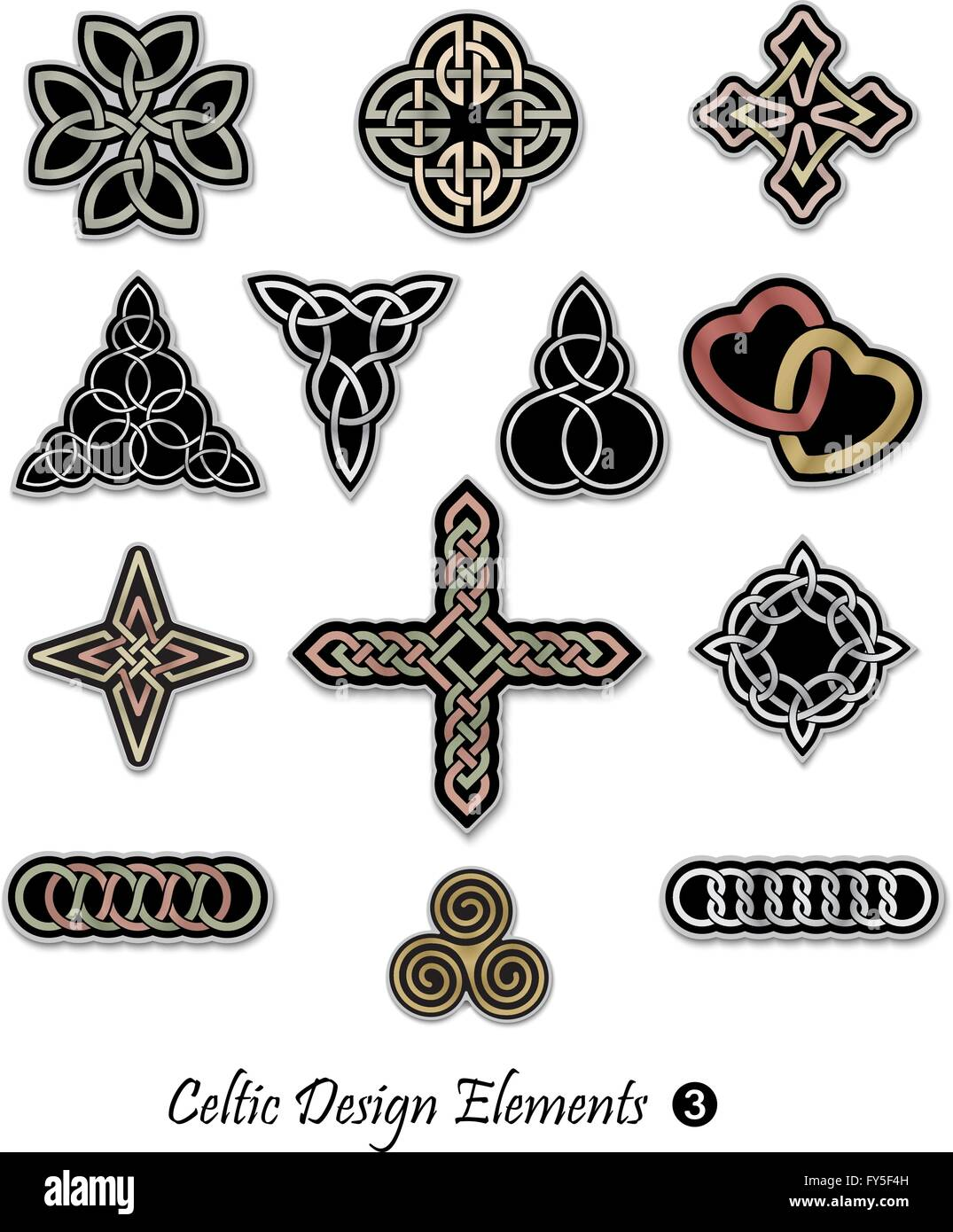 Collection of decorative Celtic patterns isolated on white background - Stock Vector