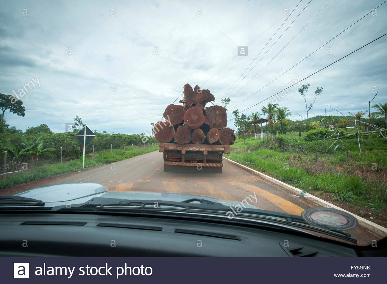 "A logging truck on the ""Coffee Road"" near the ""7th September Indian Reserve"" Rondonia, Brazil. Stock Photo"