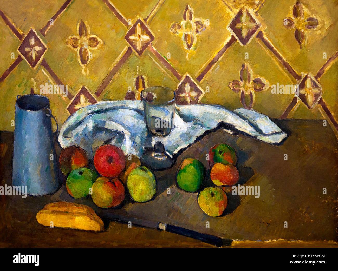 Fruit, Napkin and Jug Of Milk, Fruits, serviette et boite a lait, by Paul Cezanne, 1880-81, Musee de L'Orangerie, - Stock Image