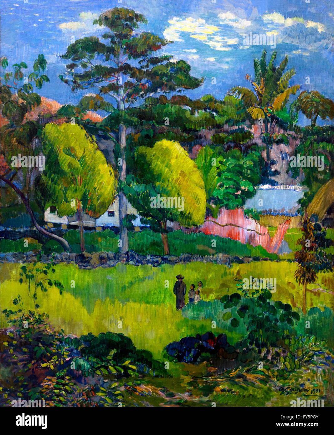 Landscape, Paysage, by Paul Gauguin, 1901, Musee de L'Orangerie, Paris, France, Europe - Stock Image