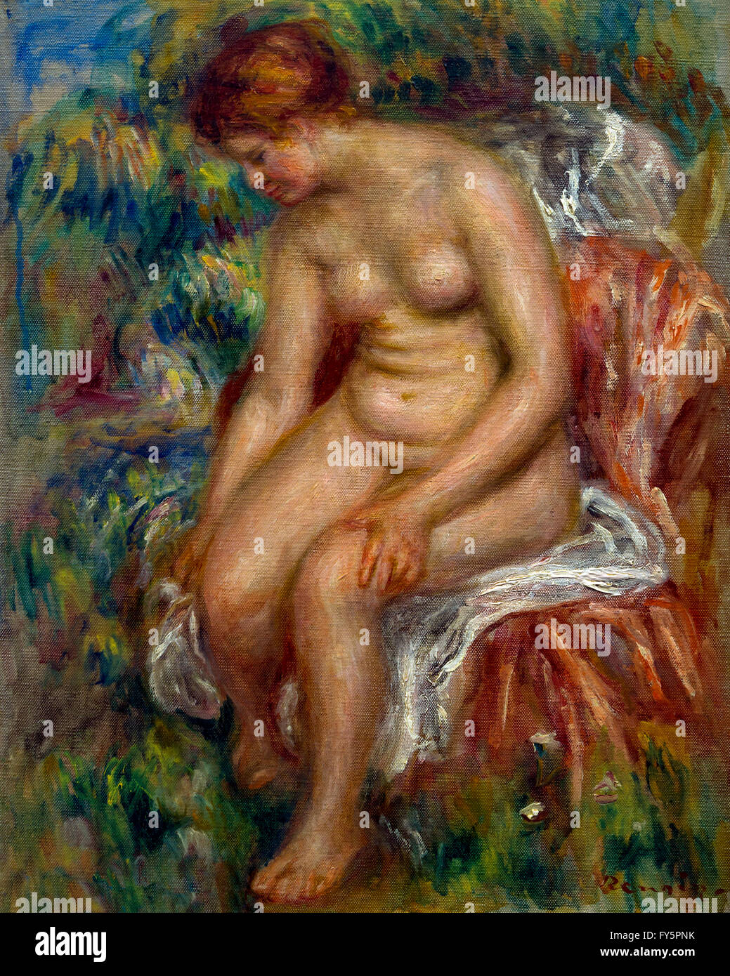 Seated Bather wiping a leg, Baigneuse assise s'essuyant une jambe, by Pierre-Auguste Renoir, circa 1914, Musee - Stock Image