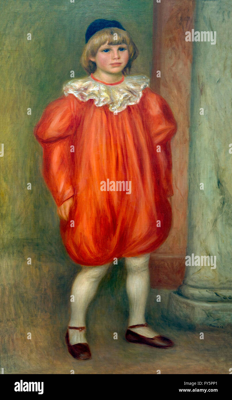 Claude Renoir as a Clown, Claude Renoir en Clown, by Pierre-Auguste Renoir, 1909, Musee de L'Orangerie, Paris, - Stock Image