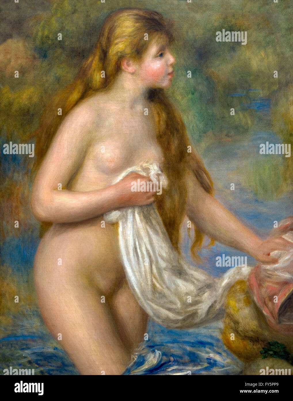 Bather with Long Hair, Baigneuse aux Cheveux Longs, by Pierre-Auguste Renoir, circa 1895, Musee de L'Orangerie, - Stock Image