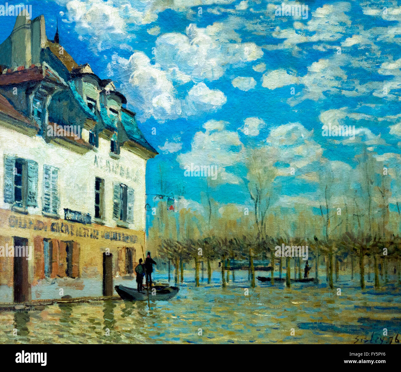The boat during the flood, La Barque pendant l'inondation, Port-Marly, by Alfred Sisley, 1876,  Musee D'Orsay - Stock Image