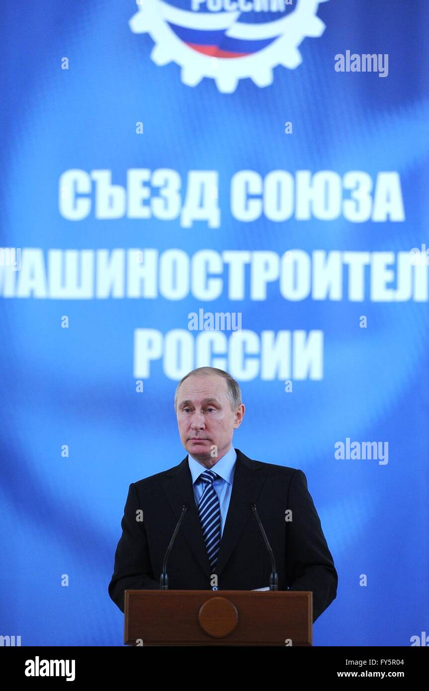 Russian President Vladimir Putin speaks at the annual Russian Mechanical Engineers Union conference at the Kremlin - Stock Image