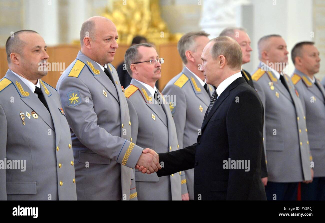 Russian President Vladimir Putin attends a presentation ceremony for senior military leaders at the Kremlin April - Stock Image