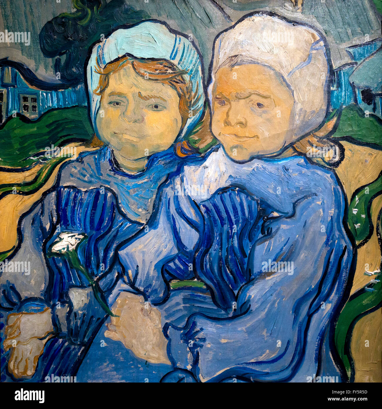 Two Girls, Out of Temper, Deux fillettes, by Vincent van Gogh, 1890, Musee D'Orsay, Paris, France, Europe - Stock Image