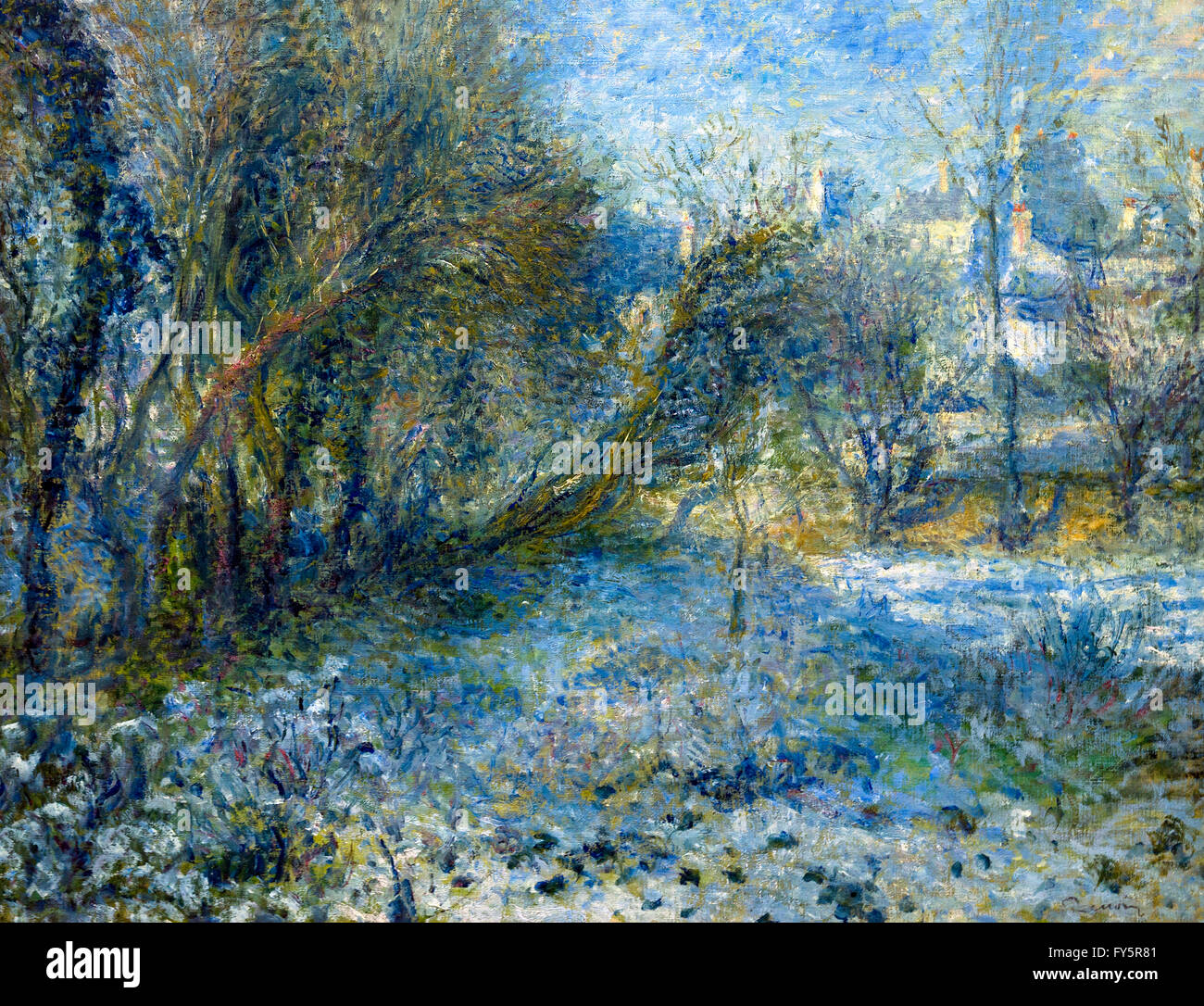 Snowy Landscape, Paysage de Neige, by Pierre-Auguste Renoir, circa 1870-1875, Musee de L'Orangerie, Paris, France, - Stock Image