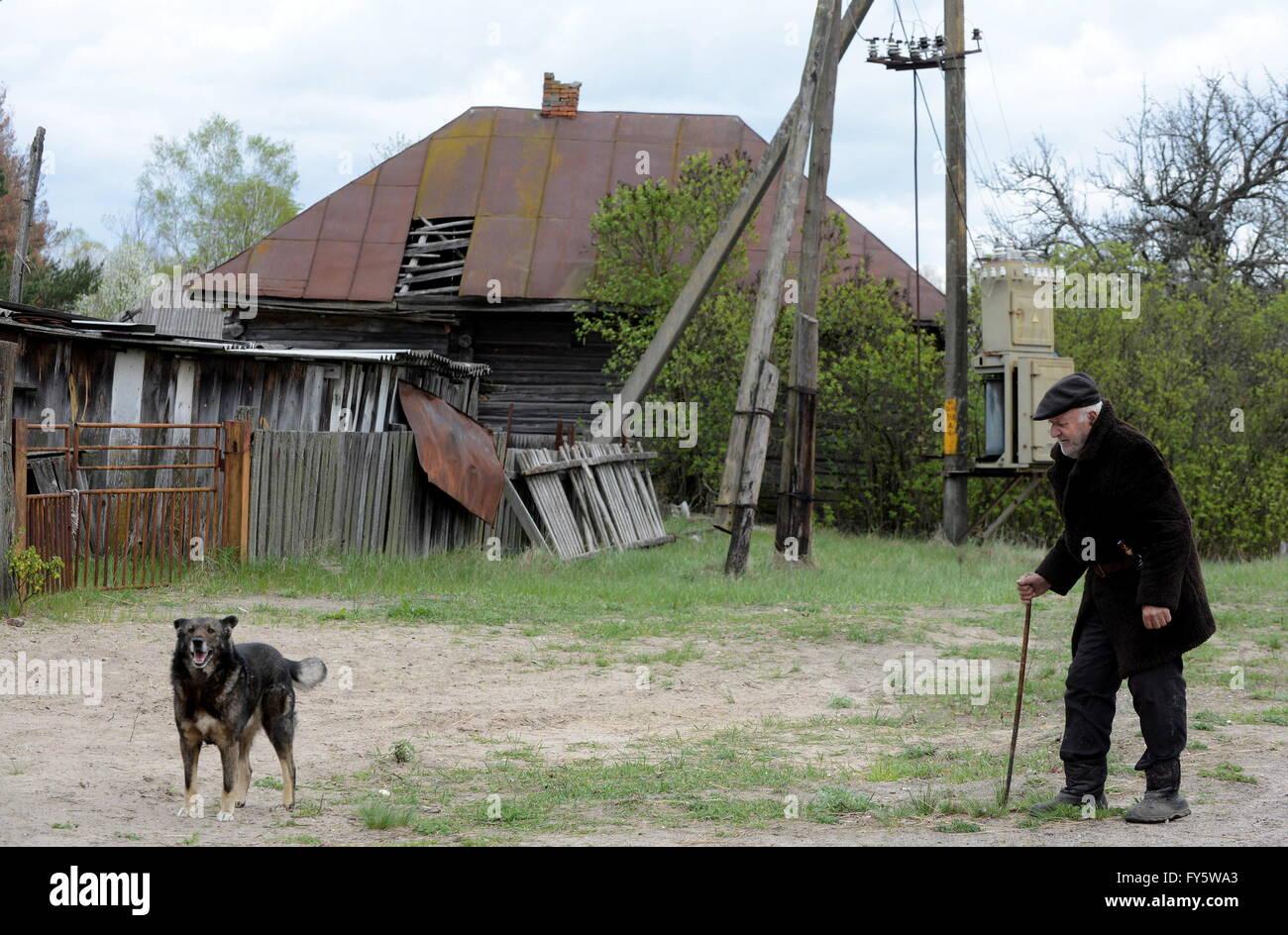 GOMEL REGION, BELARUS. APRIL 22, 2016. 90-year-old Ivan Shamyanok, the last resident of the village of Tulgovichi, - Stock Image