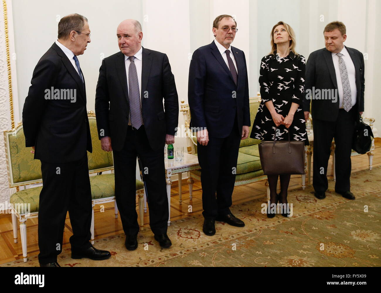 Yerevan, Armenia. 22nd Apr, 2016. Russia's Foreign Minister Sergei Lavrov, Russia's Deputy Foreign Minister - Stock Image