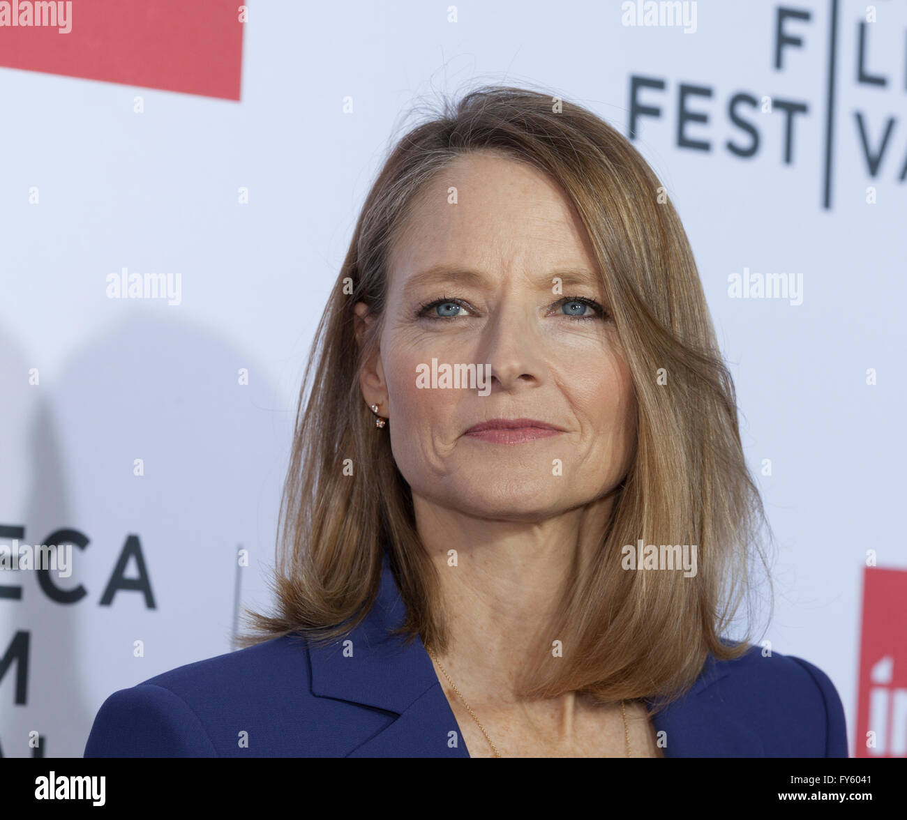 New York, USA. 22nd April, 2016. Jodie Foster attends 40th anniversary screening of Taxi Driver at Tribeca Film Stock Photo
