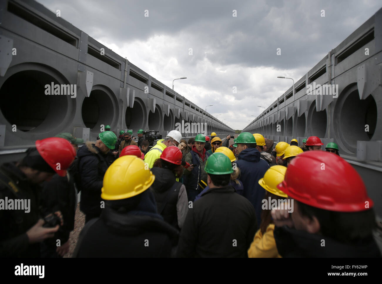 April 22, 2016 - Journalists are seen at the  nuclear-fuel storage facility next to the Chernobyl Nuclear Power - Stock Image